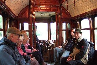 Beamish Museum niedaleko Newcastle - starodawny tramwaj Anglia Wielka Brytania